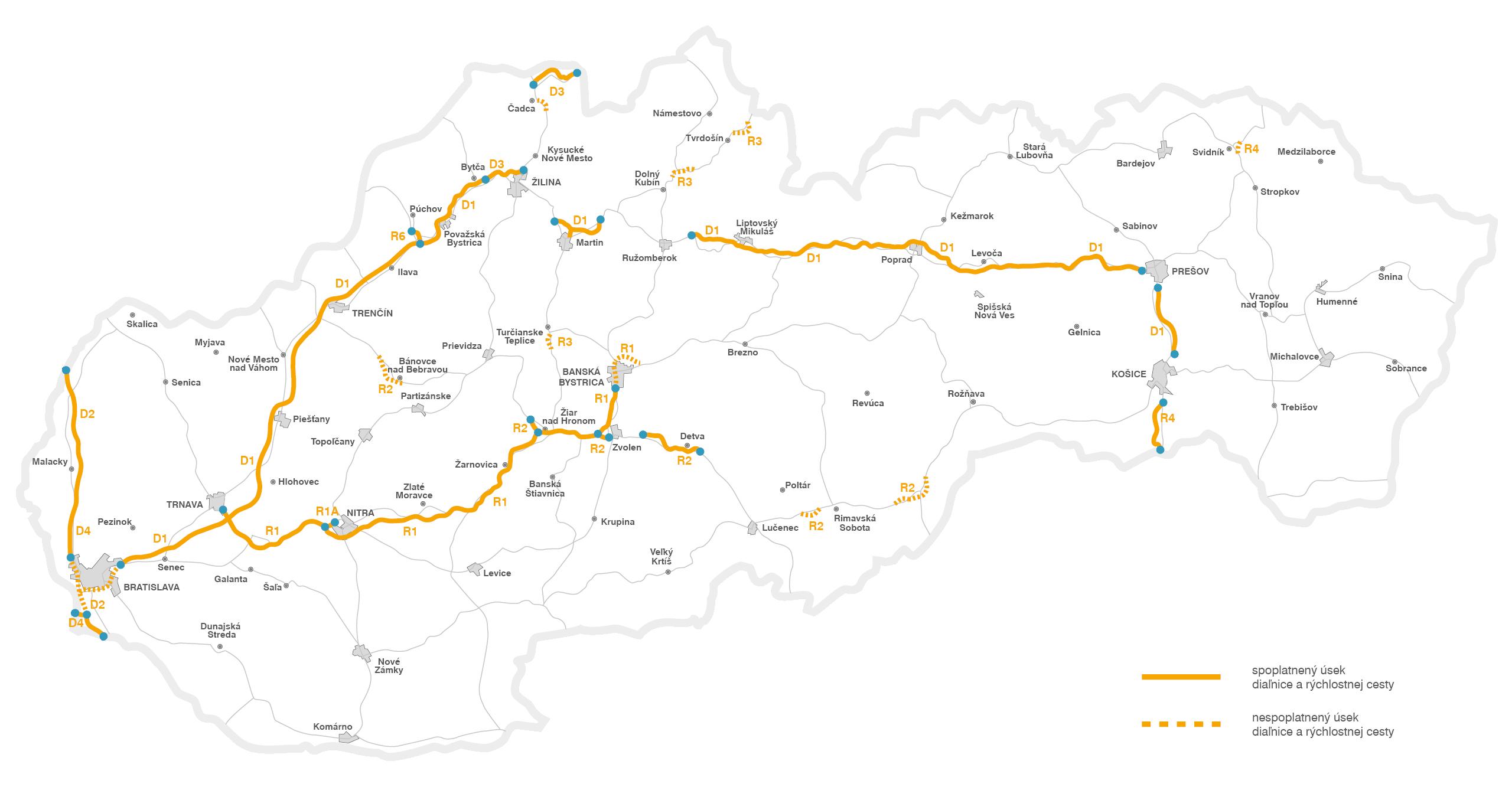 Dálniční známky na Slovensku 2018 - zpoplatněné úseky