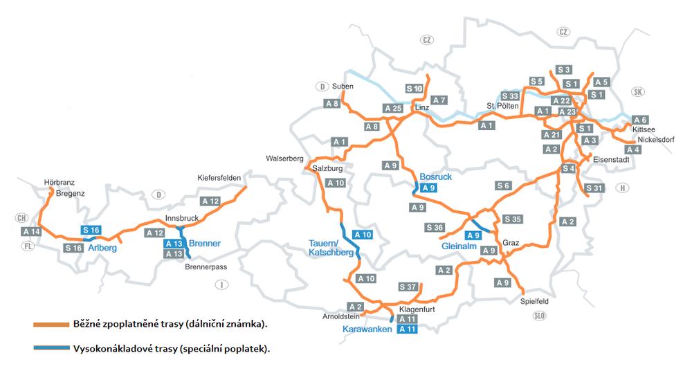 Rakouská dálniční známka je povinná na oranžově zbarvených úsecích.