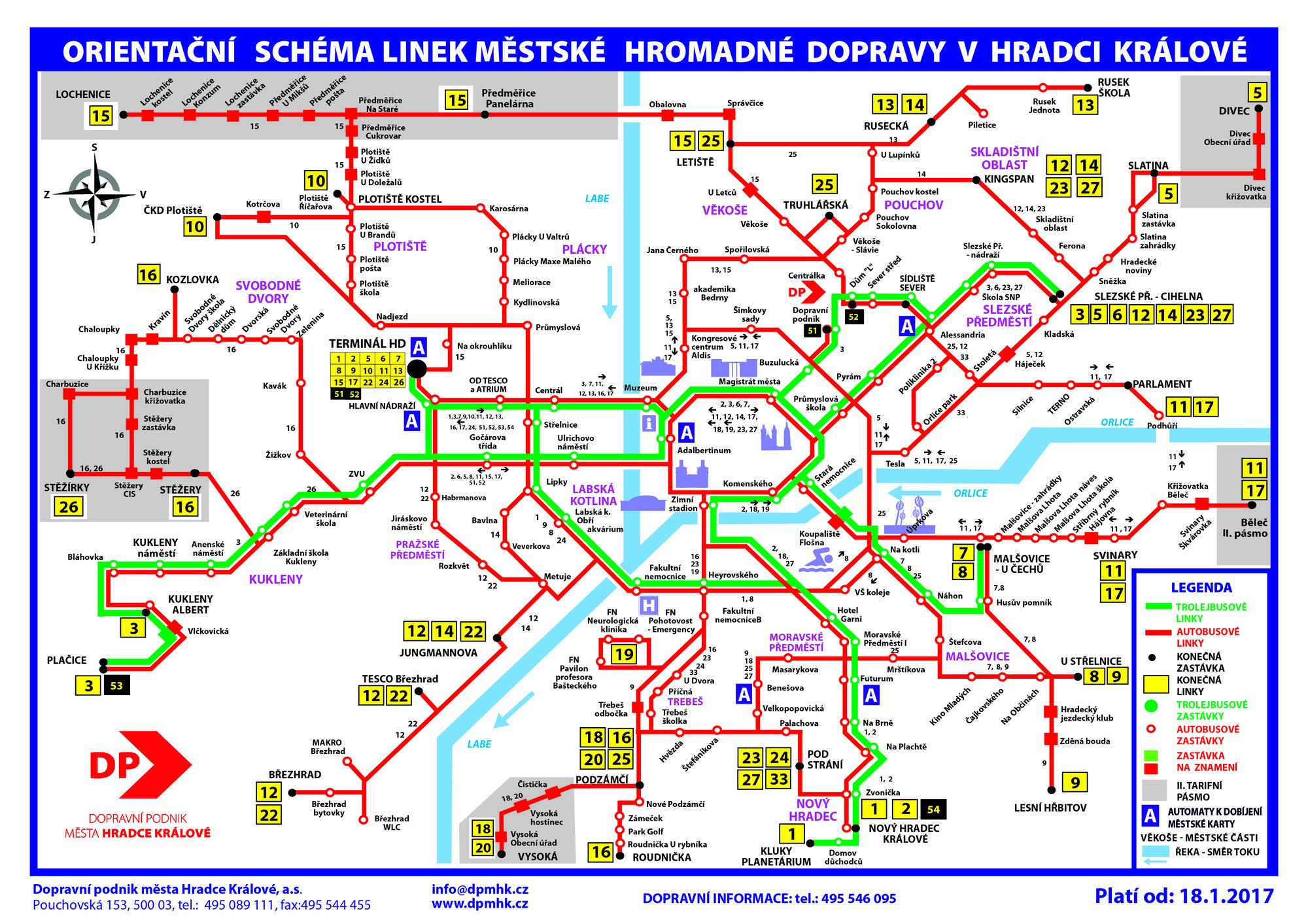 MHD Hradec Králové - ceník, mapa, jízdní řády