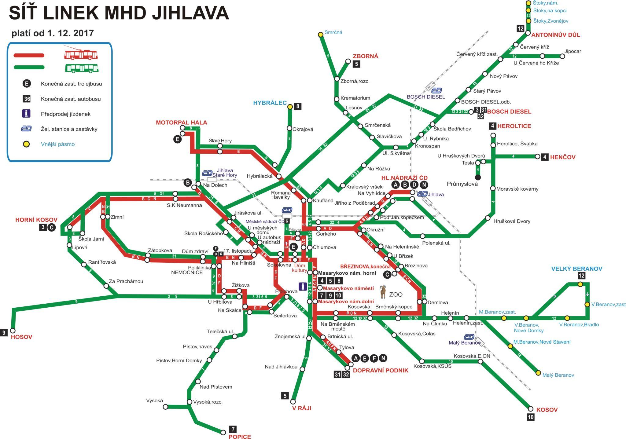 MHD Jihlava - mapa, ceny jízdného, vyhledávač spojů, jízdní řády