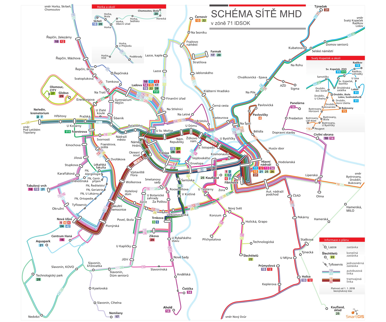 MHD Olomouc - ceník, jízdní řády, mapa linek