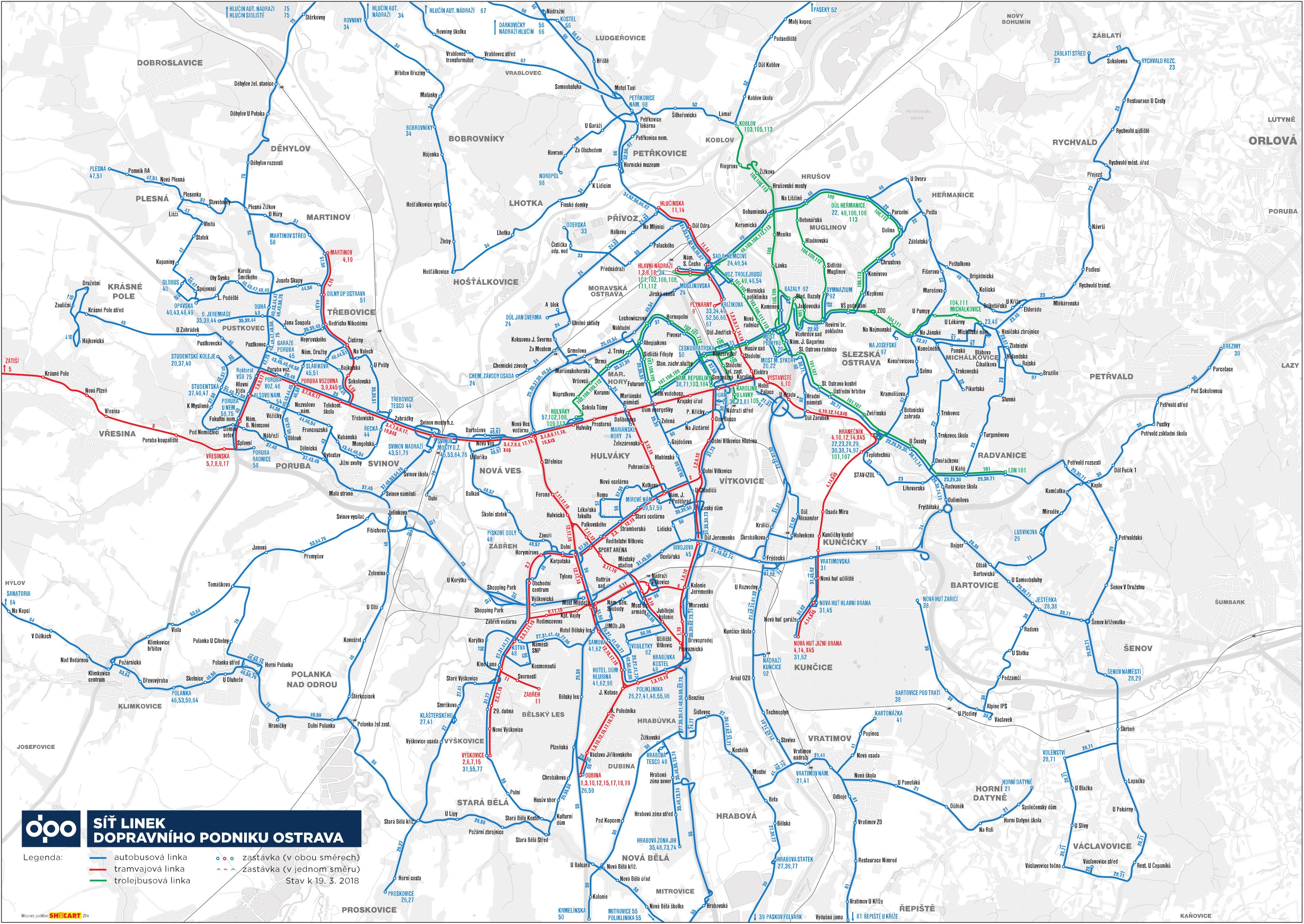 MHD Ostrava - mapa, ceny jízdného, jízdní řády