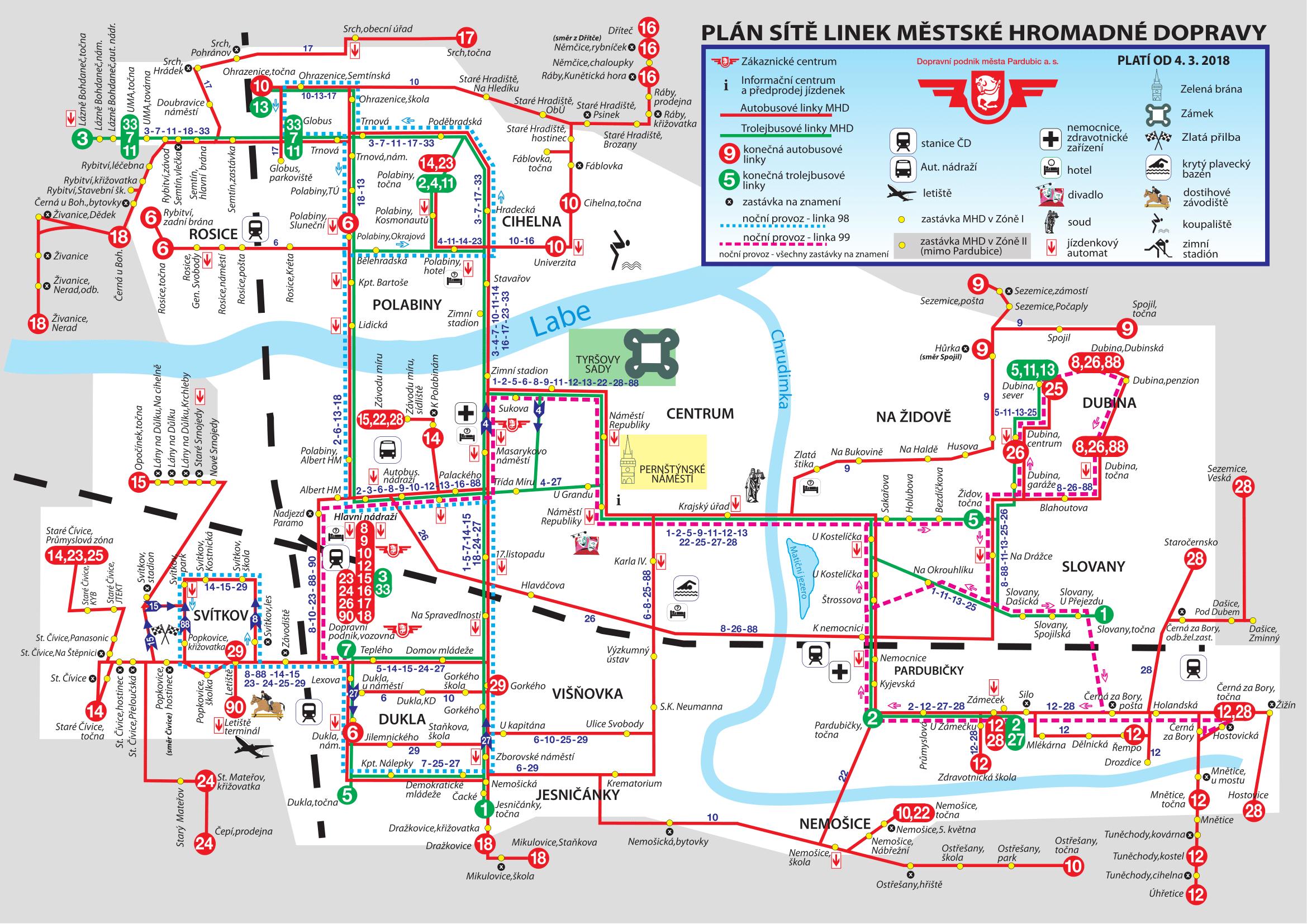 MHD Pardubice - mapa, ceny jízdného, vyhledávač jízdních řádů