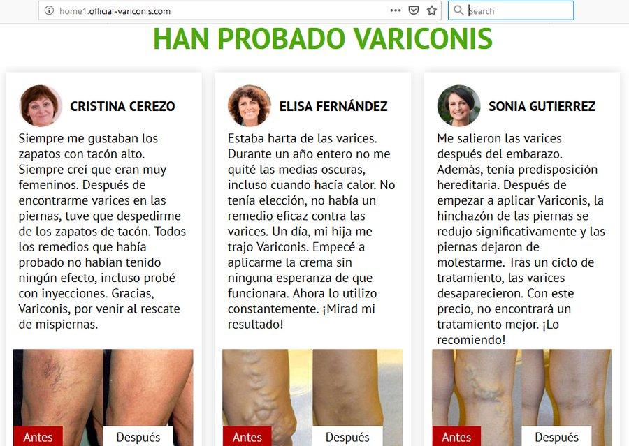 Podvodný gel na křečové žíly Variconis ve španělštině