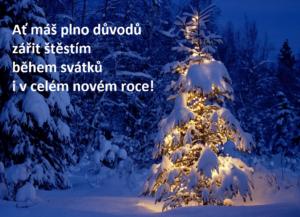 Vánoční přání ke stažení: stromeček, štěstí