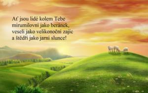 Velikonoční přání ke stažení s beránky