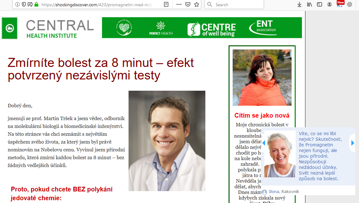Reklama na podvodné vložky Promagnetin pro Čechy